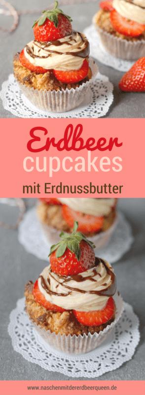 Erdbeercupcakes mit köstlichem Erdnussbutter-Frischkäsetopping. Die Cupcakes sind aus Schokolade und mit Erdnussbutter und schmecken zusammen mit Erdbeeren und Schokosoße himmlisch.