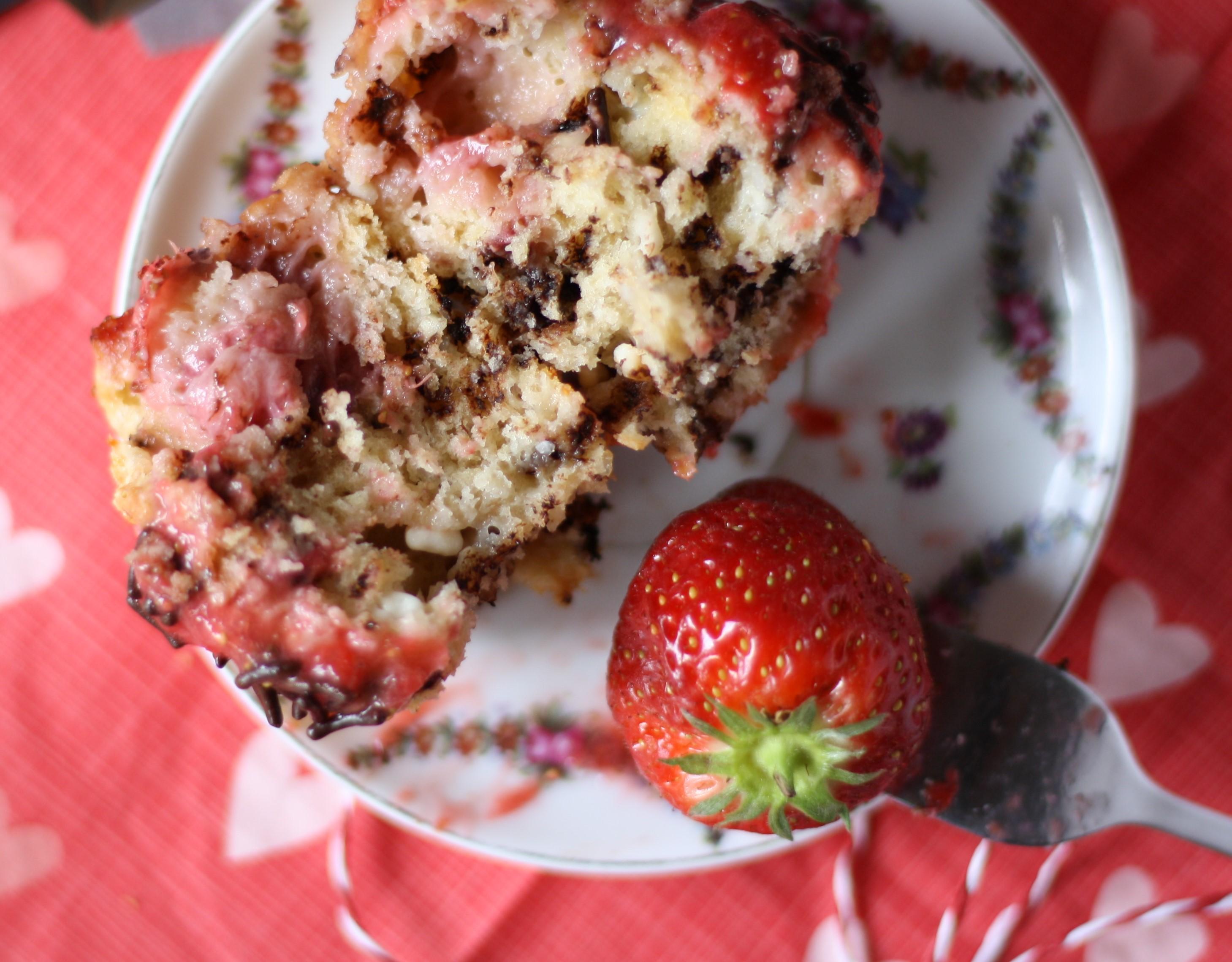Erdbeer Schokomuffin Geburtstagsmuffin von Naschen mit der Erdbeerqueen