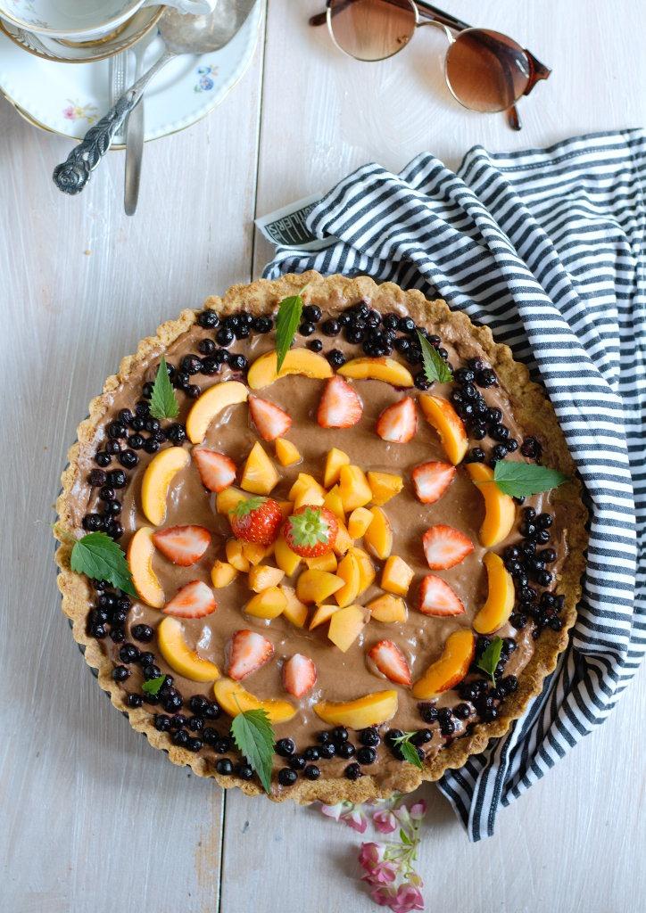 Schokoladentarte mit Früchten und Minze Sommerkuchen von Naschen mit der Erdbeerqueen.jpg