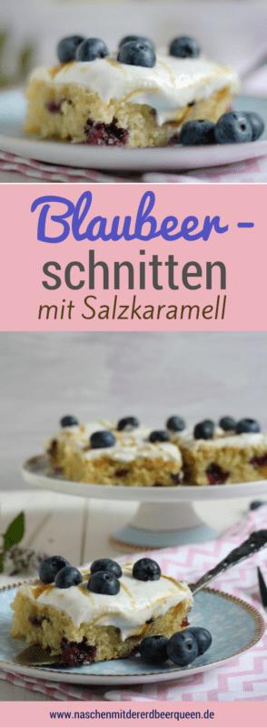 Blaubeerkuchen vom Blech mit einem Yoghurttopping und selbst gemachtem Salzkaramell. Rezept für Blaubeerkuchen und Salzkaramell.