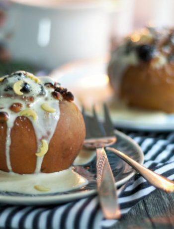 Rezept für selbst gemachten Bratapfel mit Vanillesoße