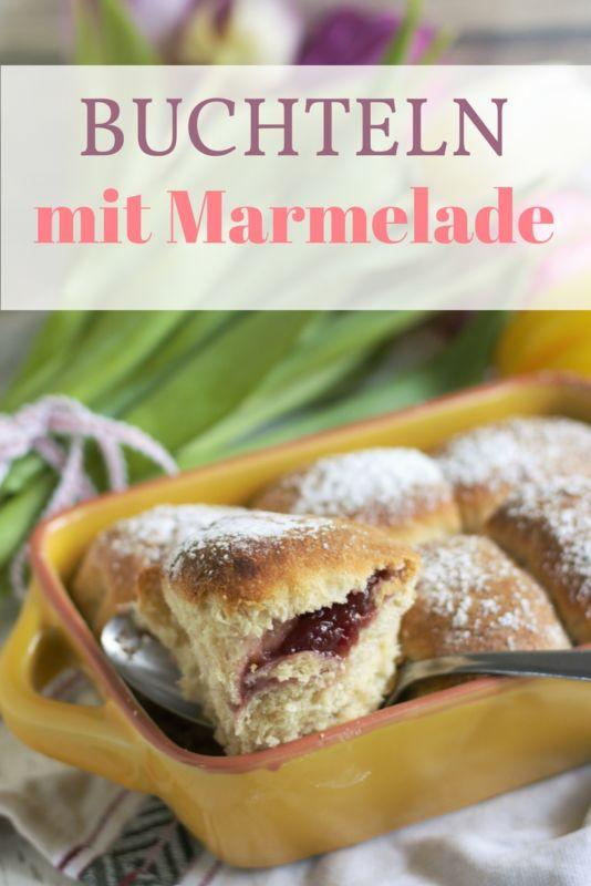 Rezept für Buchteln gefüllt mit Marmelade. Hefeteilchen für den Kaffeetisch oder für das Frühstück