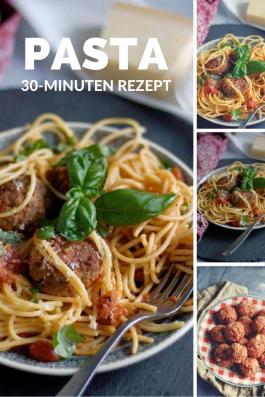 Rezept Hackbällchen in Tomatensoße mit Basilikum und Parmesan 30 Minuten Rezept Pasta