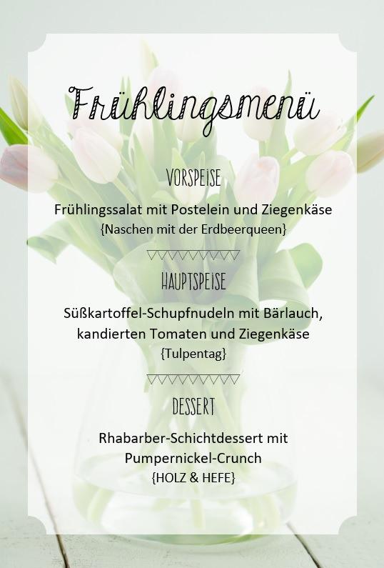 Salat mit Ziegenkäse, Postelein und allerhand Grünzeug; Süßkartoffel-Schupfnudeln mit Bärlauch, kandierten Tomaten und Ziegenkäse; Rhabarber Schichtdessert mit Pumpernickel-Crunch