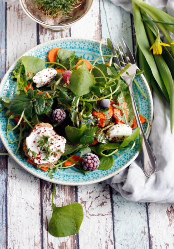 Rezept fuer einen Frühlingssalat mit Ziegenkäse, Postelein bzw. Winterportulak, wilder Kresse, Rucola und Honig-Senf-Dressing
