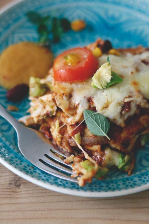 Enchilada Rezept: Vegtarisches Mittagessen oder Abendessen mit Käse überbacken