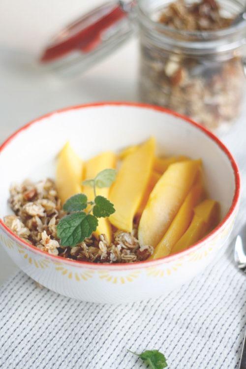 Granola mit Kokos und Datteln selber machen Knuspermüsli Rezept mit Honig
