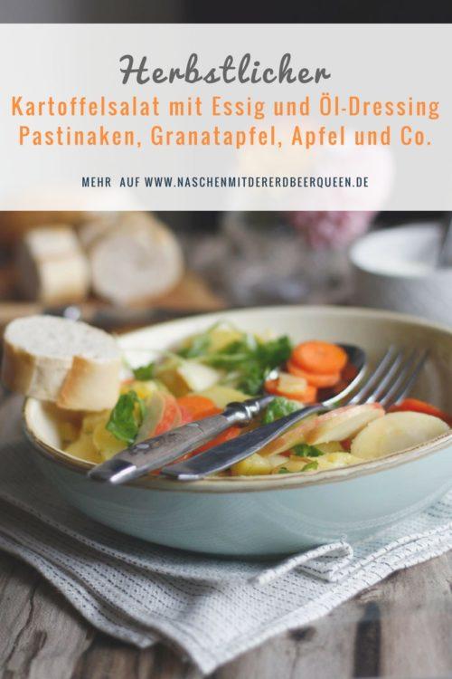 Rezept Kartoffelsalat mit Essig und Öl Dressing Karotten, Granatapfel, Pastinaken, Apfel und Rucola