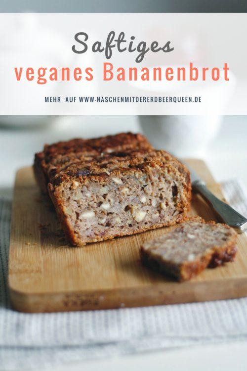 Veganes Bananenbrot Rezept mit wenig Zucker. Saftiges Bananenbrot ohne Ei. Einfaches Bananenbrot backen.