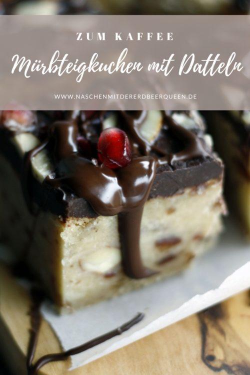 Shortbread mit Datteln und Schokolade. Mürbteiggebäck backen. Kuchen mit Datteln und Schokolade jetzt nachbacken.