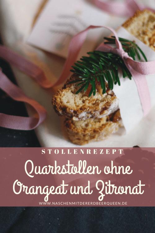 Rezept Quarkstollen. Weihnachtlicher Stollen ohne Orangeat und Zitronat. Stollenrezept mit Aprikosen und Marzipan.