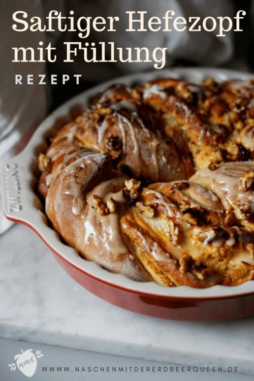 Rezept saftiger Hefezopf mit Marmeladenfüllung und Mandeln. Saftiger gefüllter Hefezopf für Ostern oder andere Anlässe. Einfacher Hefezteig für einen Hefezopf.