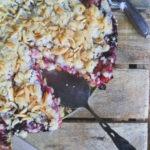Veganer Rhabarberkuchen mit Streusel und Pudding. Saftiger Rhabarberkuchen mit Kokos-Streuseln. Einfach und lecker. Kuchenrezept mit Streusel.