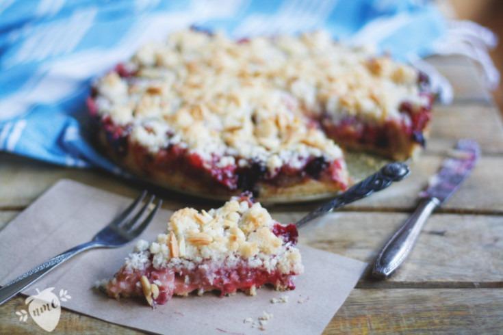 Rhabarberkuchen mit Streusel und Pudding. Saftiger Rhabarberkuchen mit Kokos-Streuseln. Einfach und lecker. Kuchenrezept für die Familie.