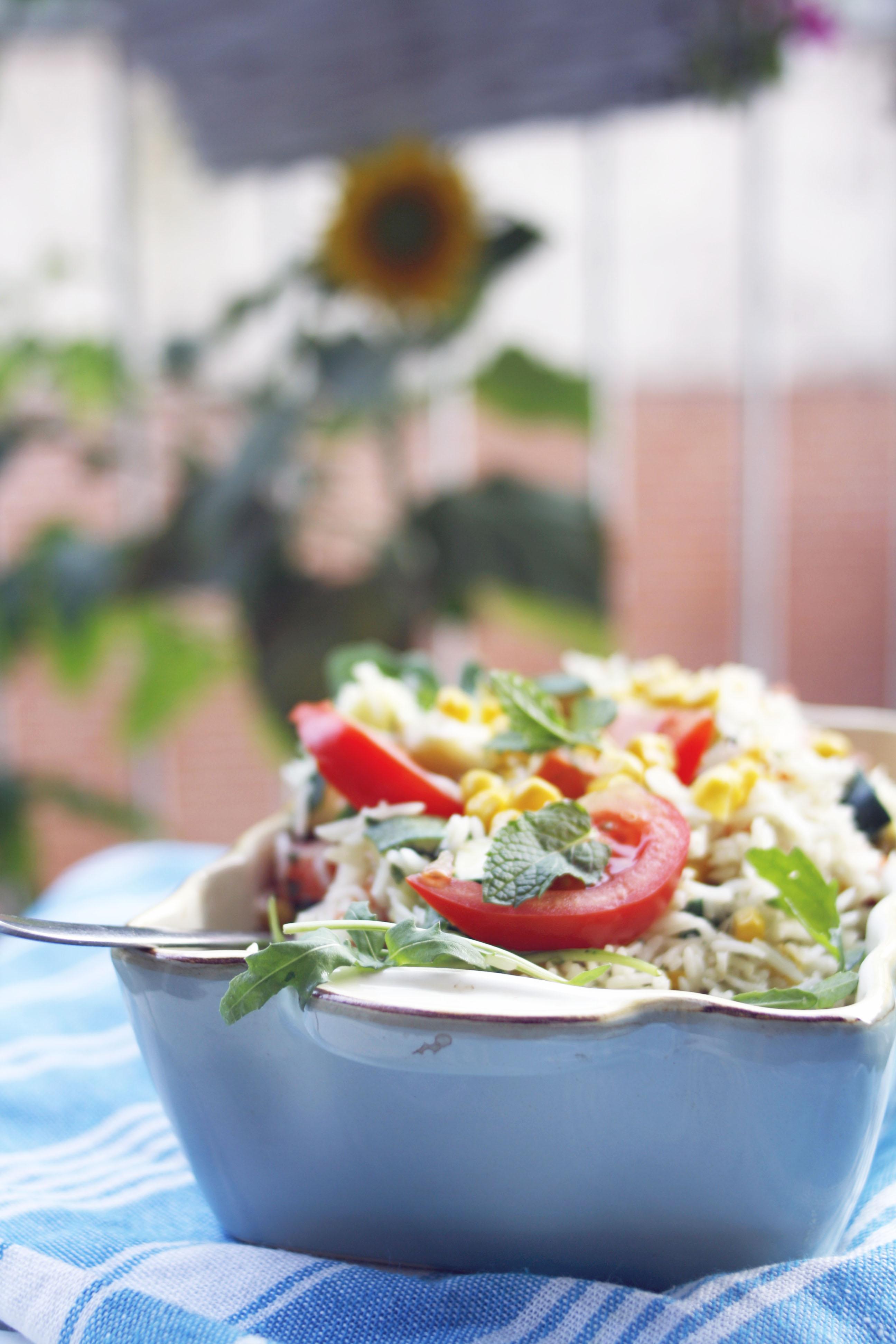 Rezept Vegetarischer Reissalat mit Gemüse einfach und lecker