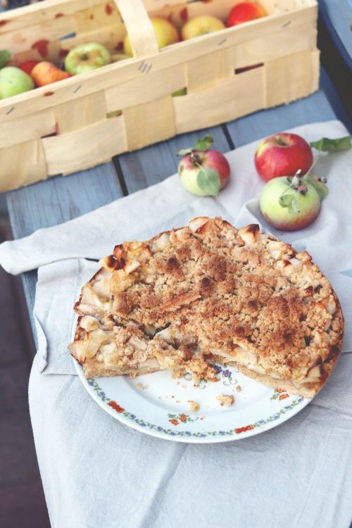 Rezept Apfelkuchen mit Schmand und Streuseln. Kuchen mit Streuselboden und Streuseln als Decke. Rezept Streuselkuchen mit Schmand und Apfel.