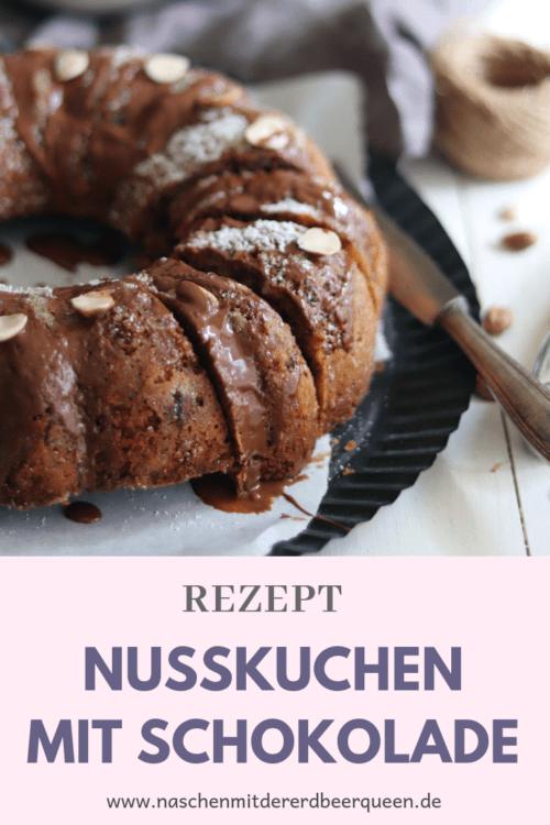 Einfaches Kuchenrezept: Saftiger Schokoladen Nusskuchen mit Haselnüssen und Walnüssen. Kuchen backen Geburtstag