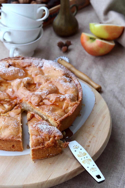Rezept saftiger gedeckter Apfelkuchen mit Zimt - Apfelkuchenrezept