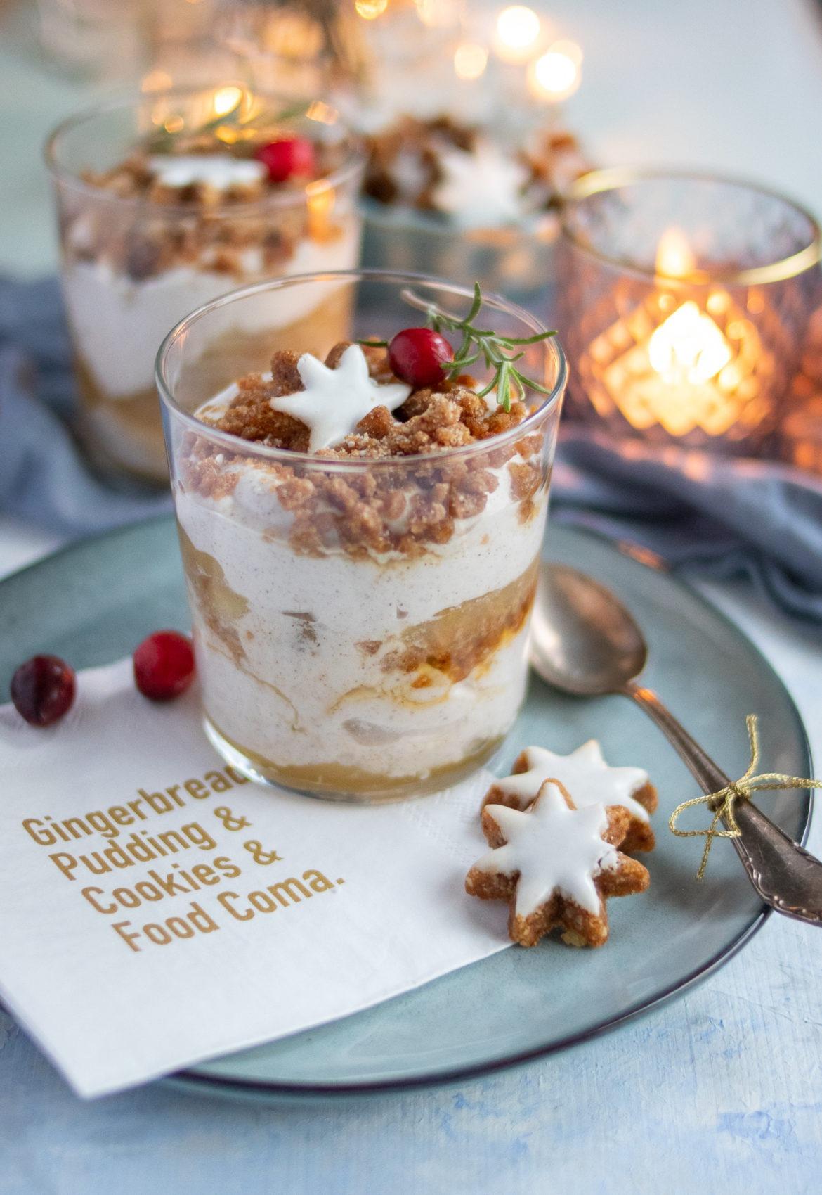 Zimtdessert mit Apfelkompott Weihnachtsdessert im Glas